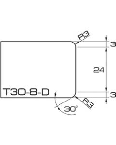 "ADI UHS Profile T30-8-D 3cm 20 Series CNC Whls. 20mm dia. 1/2"" Gas R=3.5"